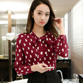 New Women Casual Basic Autumn Winter Lace Chiffon Blouse Top Shirt printed Heart Tie OL Full Sleeve bowknot bandage Plus Size