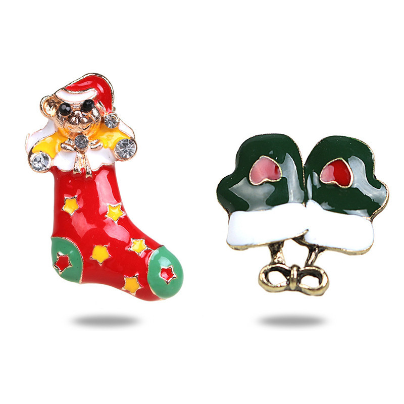 NADEEM Fashion Enamel Metal Boot Glove Design Christmas Brooch Set European Fashion Breastpin Women Christmas Gift Jewelry