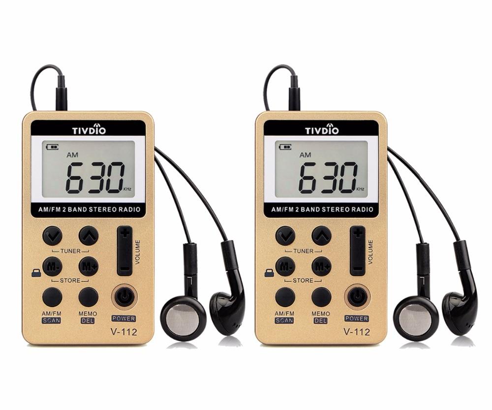 2pcs Tivdio V 112 Mini Radios Pocket Am Fm 2 Band Music Radio Receiver Bulit In Speaker Earphone For Outdoor Sports F9202