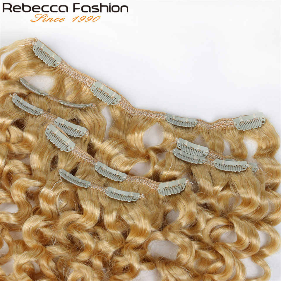 Rebecca Hair 7Pcs In Human Hair Extensions Jerry Curl Remy Hair Clip Blonde Color#613 Full Head 7Pcs Per Set Remy Hair Weaves