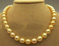 Huge AAA+ 11 12mm freshwater Golden Pearl Necklace 1814K Yellow Gold Jewelry BOX