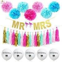 HEY FUNNY 1 Set Flamingo MR MRS Banner Tissue Paper Tassels Pompoms Festive Party Wedding Party