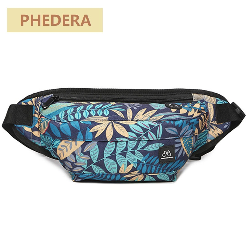 Fashion Men Waist Bags Leaves Pattern 2018 New Multifunction Fanny Bag for Men Patchwork Belt Bags Small Phone Bag KB31 цена 2017