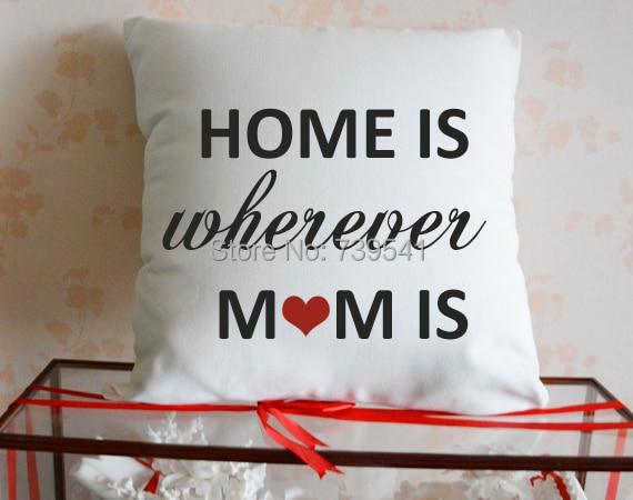 Оптовая продажа пользовательские Цитата наволочка personalzied Дома где мама подушка белый холст подушки случае домашнего декора мать подарок