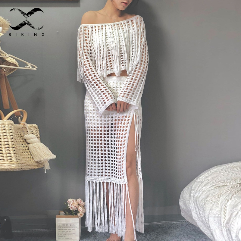 Bikinx Long sleeve beach dress cover up bathers Hollow out swimsuit female Cover-ups Tassel beach wear Crochet dress Summer swimBikinx Long sleeve beach dress cover up bathers Hollow out swimsuit female Cover-ups Tassel beach wear Crochet dress Summer swim