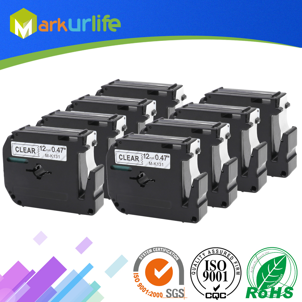 8 PCS/Lot 12mm*8m M-K231 Compatible Brother M Tapes Label cartridge M-K231 MK231 Mk 231 for Brother P touch printer PT100 PT65