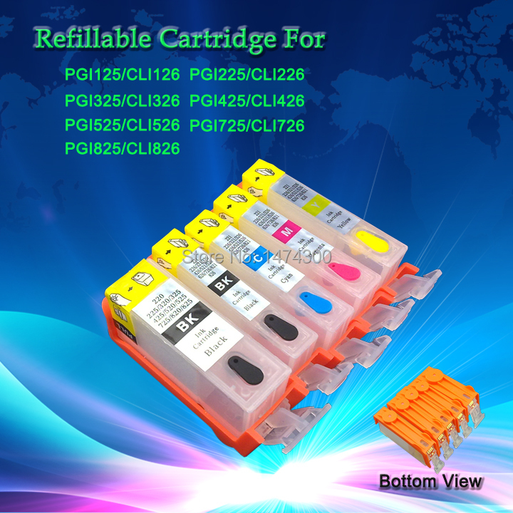 5 Pack PGI-125BK  CLI-126BK C M Y  empty refillable ink cartridges for Canon PIXMA IP4810 MG5210 IX6510 MG6110 etc. pgi 425 cli 425 refillable ink cartridges for canon pgi425 pixma ip4840 mg5140 ip4940 ix6540 mg5240 mg5340 mx714 mx884 mx894