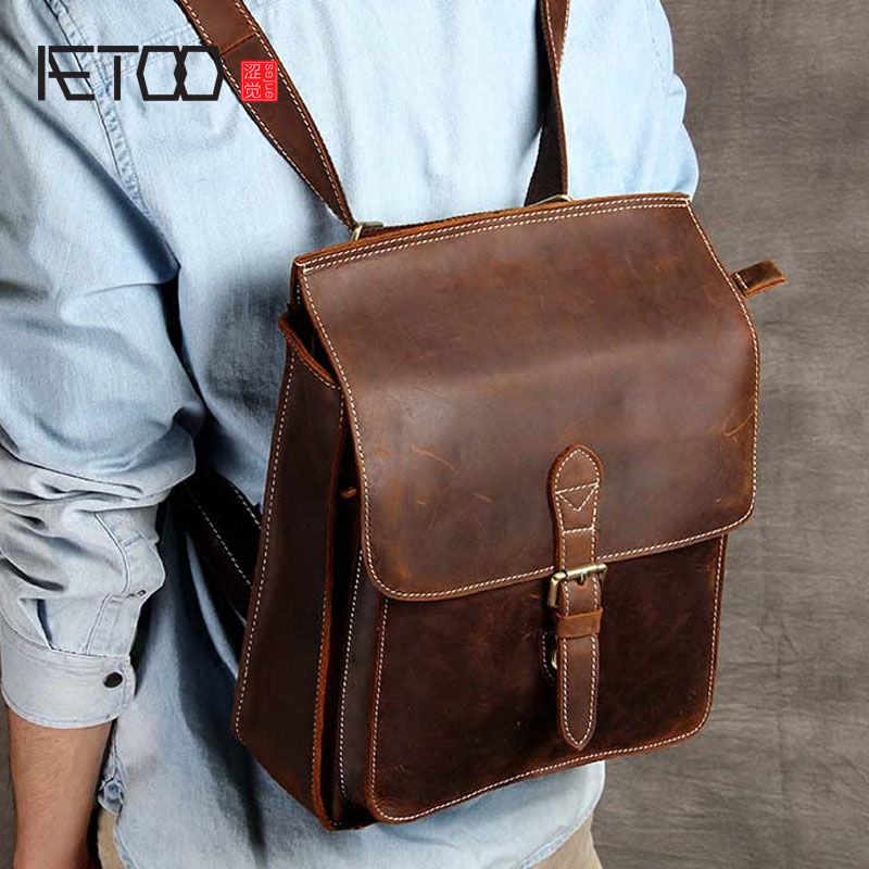 AETOO Simple college wind import the first layer of leather shoulder bag leather female backpack handmade original classic lynn jacobs f the secrets of college success