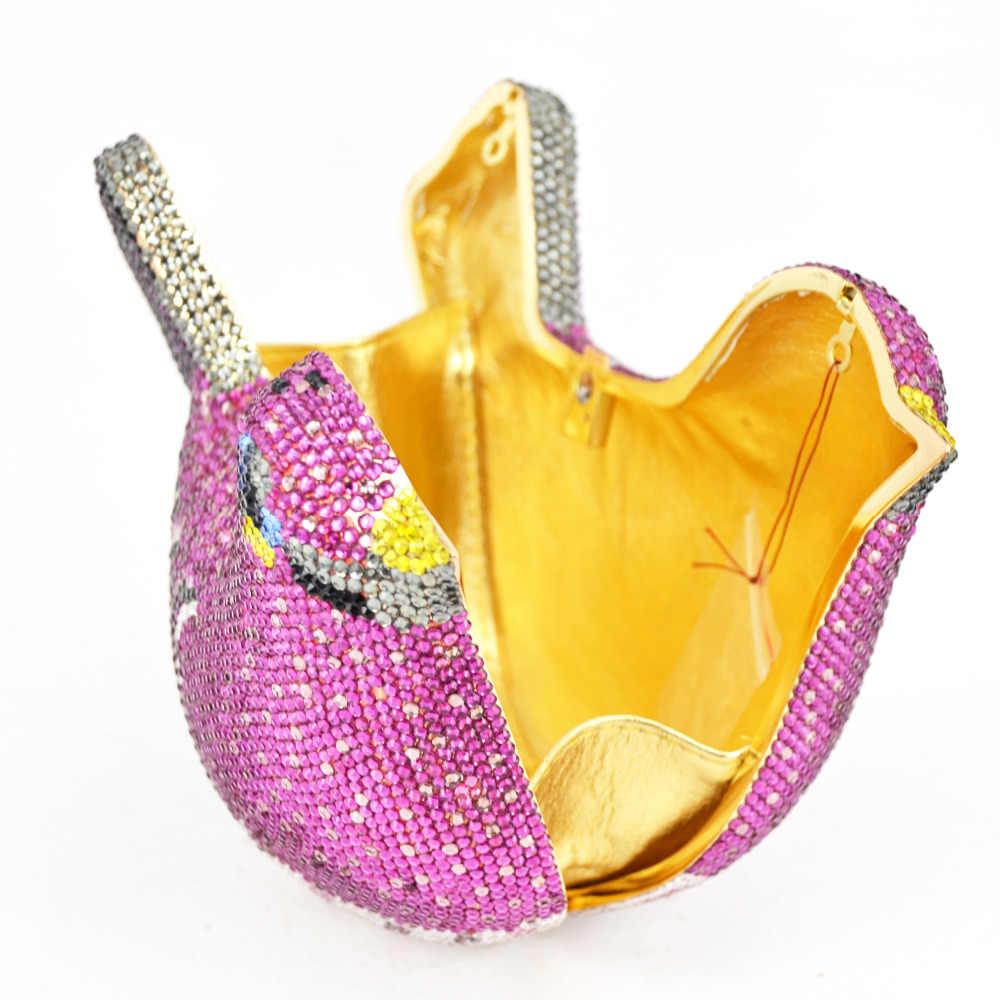 Модная женская роскошная сумка с кристаллами Свадебный клатч кошелек вечерняя сумочка со стразами клатч с птицей Сумочка Лавандовые вечерние сумки SC468