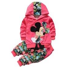 Комплект одежды для маленьких девочек; детская одежда; коллекция года; сезон весна; Бархатный комплект одежды с рисунком Минни; Спортивный костюм для маленьких девочек; толстовка с капюшоном+ брюки