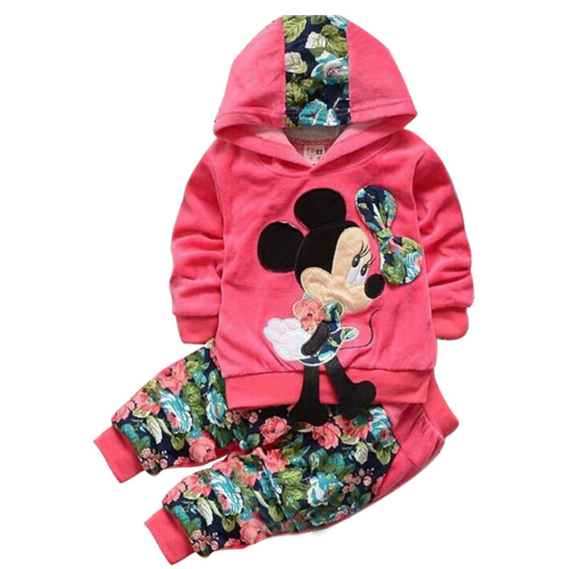 Baby Girl Clothing Sets Kids Children 2016 spring velvet clothing set Cartoon Minnie baby girls sport suit Hoodies + Pants