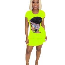 Adogirl Womens Dress Vestido Short Sleeve Slim Bodycon Dress Tunic Crew Neck Casual Pencil Dress Cartoon Printed Plus Size 3XL цена
