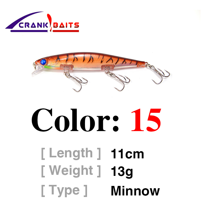 CRANK BAITS Slowly Sinking Wobblers Artificial Bait 110mm 13g Laser Minnow Fishing Lure Pesca Hooks 1PCS Deep Diving YB433 in Fishing Lures from Sports Entertainment