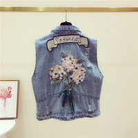 Women 2019 Spring Autumn Short Denim Vest Vintage Ripped Embroidery Flower Jacket Coats Sleeveless Slim Thin Blue Jeans Vest