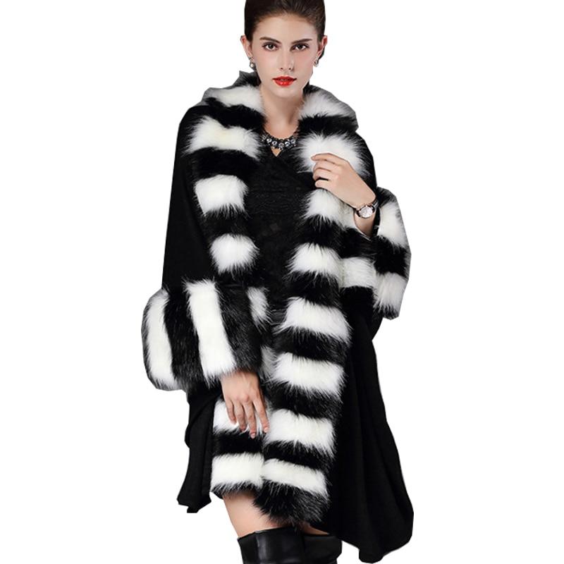 2017 Plse Size Inverno Faux Shealing pelle di Pecora Pelliccia di Volpe Cappotti Scialle Cardigan In Maglia Donne Mantello Poncho e Mantelle AS1017
