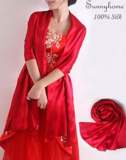 Осень 2016 Длинный шелковый шарф twill высокое качество Свадьба красный обертывания 100% сатин Шелк Пашмины шали женщин Весна Лето шарфы