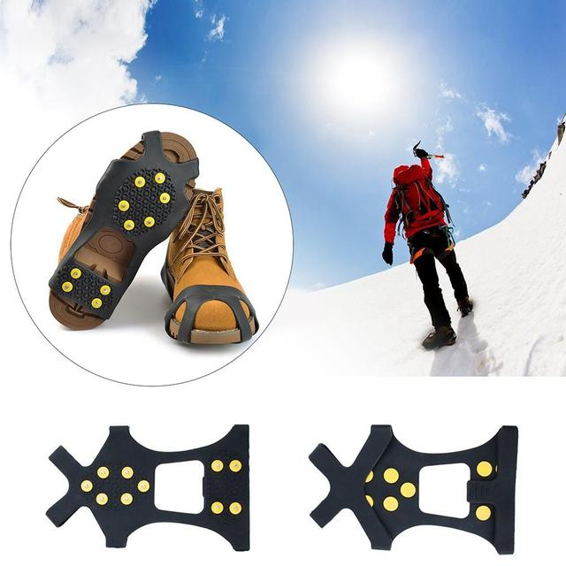 48abeeb9fc2 10-Studs Anti-Slip Ice Snow Grips Shoe Boot Traction Cleat Spikes Crampon  Ice Snow Shoe Spikes Cleats Overshoes Accessories