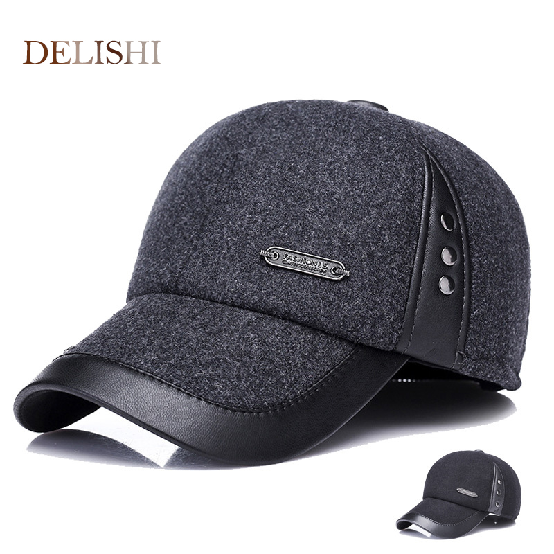 2017 Warm Winter spring Ear Flaps For Men Hat Thickened Baseball Cap With Ears Men'S Cotton Hat Snapback Hats unisex genuine leather cowskin baseball cap for men fall winter cowhide hat for women keep warm cow leather hat with ears black