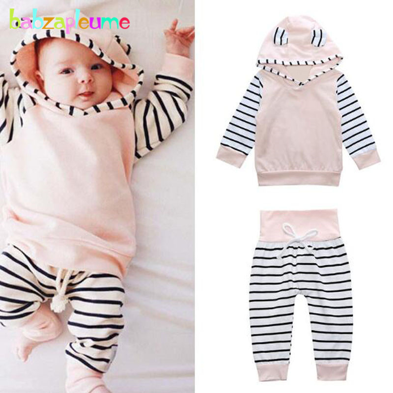2PCS/Spring Autumn Newborn Baby Outfit Infant Clothes Sport Suit 100% Cotton Hooded T-shirt+Pants Boys Girls Clothing Set BC1100