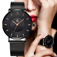 Shengke Fashion Black Women Watch 2019 High Quality Ultra thin Quartz Woman Elegant Dress Ladies Wristwatch  Montre Femme