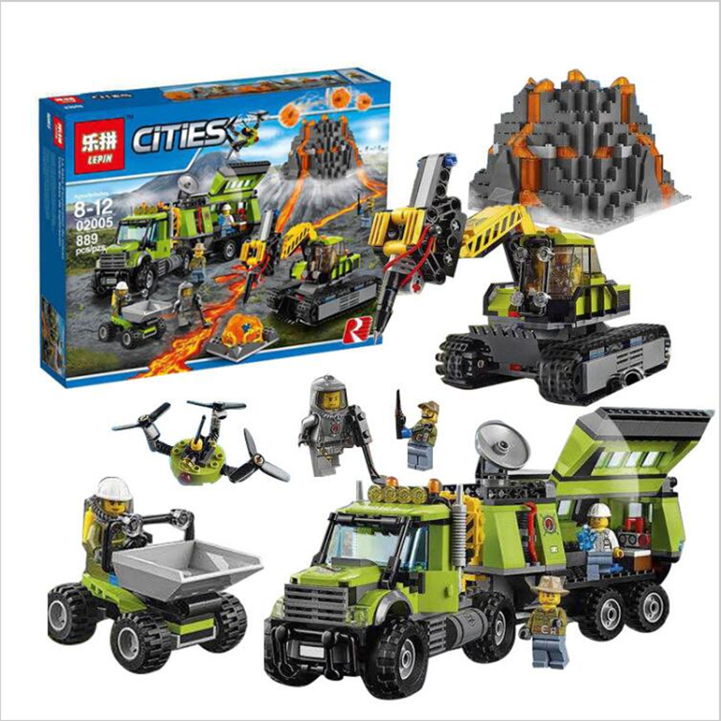 Compatible City LEPIN 02005 889Pcs The Volcano Exploration Base 02005 Building Blocks Policeman Educational Toys For Children lepin 02025 city the high speed racer transporter 60151 building blocks policeman toys for children compatible with lego