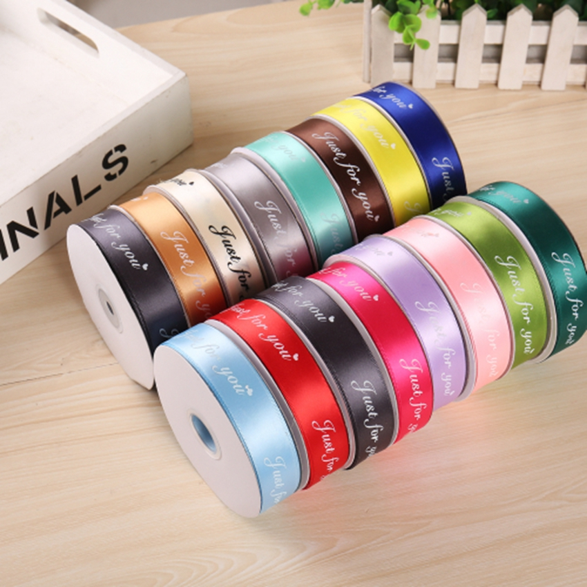 In Stock Width 2.5cm Gift Packaging Polyester Decoration For Wedding Event 50 Yard /lot Custom Ribbon Printed Logo Ribbon