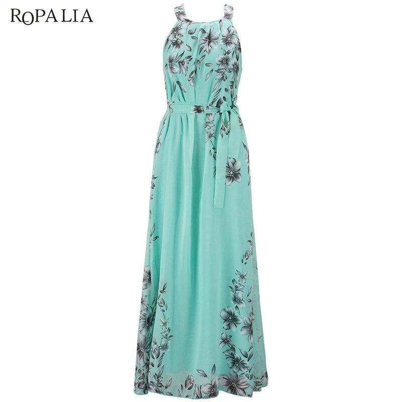 ROPALIA Women Long Dress O Neck Floral Print Chiffon Maxi Dress Elegant  Casual Boho Party Dresses Vestidos With Belt-in Dresses from Women s  Clothing ... e96397fd0e93
