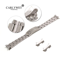 CARLYWET 20mm Stainless Steel Links Hollow Curved End Deployment Glide Lock Clasp Brushed Buckle Bracelet for 70216 455B цена