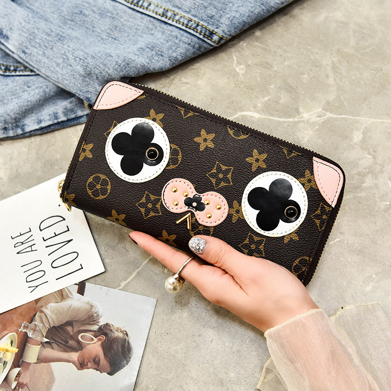 2018 new girls wallet buckle printing old flower ladies wallet female long section fashion multi-card large capacity clutch bag 1 black pu leather ladies long section of ultra thin magnetic buckle multi card wallet wallet size about 19 9 5 2cm