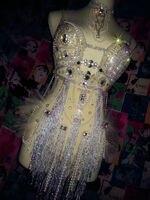Мода 2017 г. блестят со стразами и кисточками купальник Для женщин пикантные вечерние пайетки боди бюстгальтер костюмы сценического танца дл