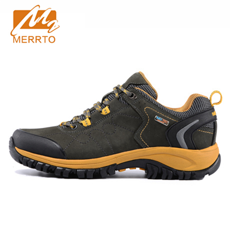 2017 Merrto Men Walking Shoes M2-TEC Waterproof Breathable Outdoor Sports Shoes Full-grain leather For Male Free Shipping 18209 2017 merrto mens hiking boots waterproof breathable outdoor sports shoes color black khaki grey for men free shipping mt18638