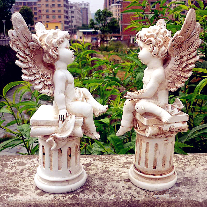 Cupid Bust Angel Statue Roman Mythology Amoretto Home Decoration Resin Craftwork Valentine's Day Gift 2pcs/set L1929