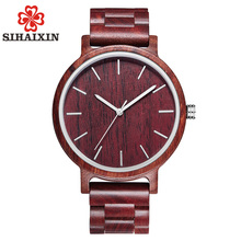 SIHAIXIN Red Watch Men Luxury Nature Bamboo Wood Watches For