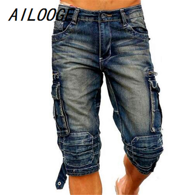 AILOOGE Summer Mens Retro Cargo Denim Shorts Vintage Acid Washed Faded Multi-Pockets Military Style Biker Short Jeans For Men