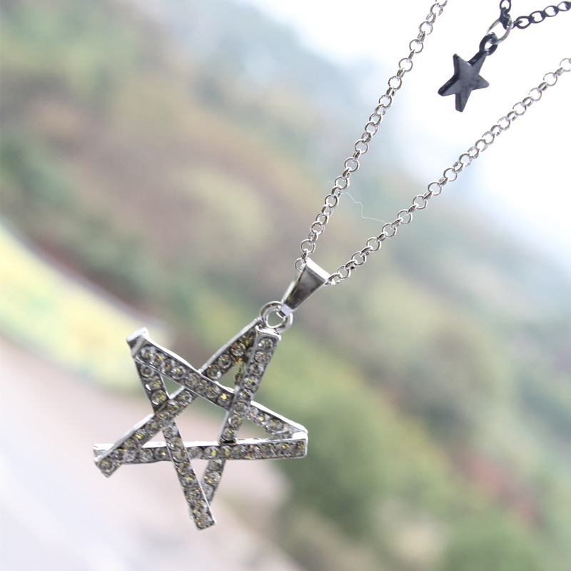 2018 New Fashion Rhinestone Star Pendant Necklaces for Women Silver Plated Double Layers Sweater Necklace Christmas Gifts D060