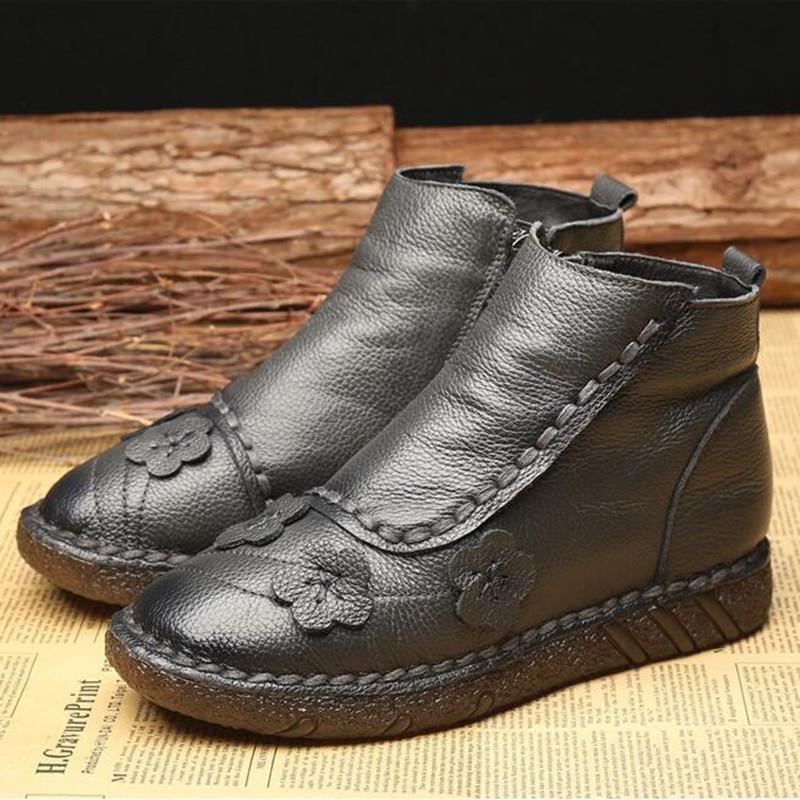 Cuir gris À Printemps Velours Chaussures Véritable Casual Le Main Femmes La Noir Nouveau Fleur Confort Plus Rétro Original 2019 Bottes gFPxwx