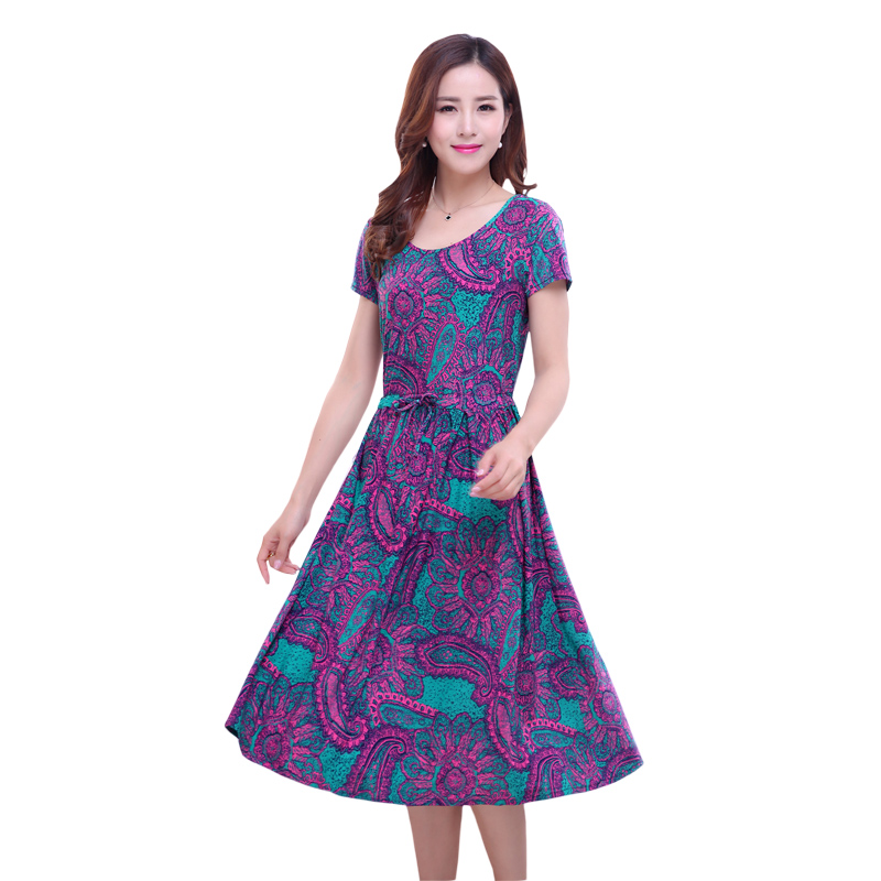 Womens milk silk dress female 2019 new summer stretch ice print plus size S-5XL