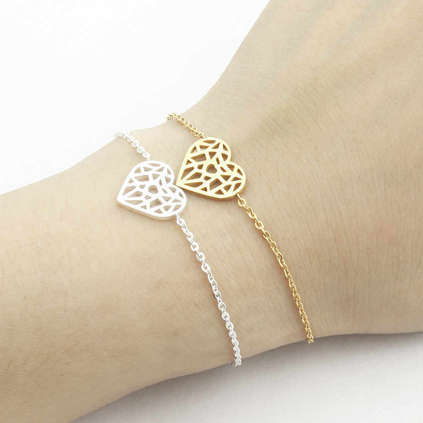 Unique Design Hollow Love Heart Shaped Bracelet Stainless Steel Chain Link Statement Jewelry Cut Out Ketting Hanger Hart Pulsera