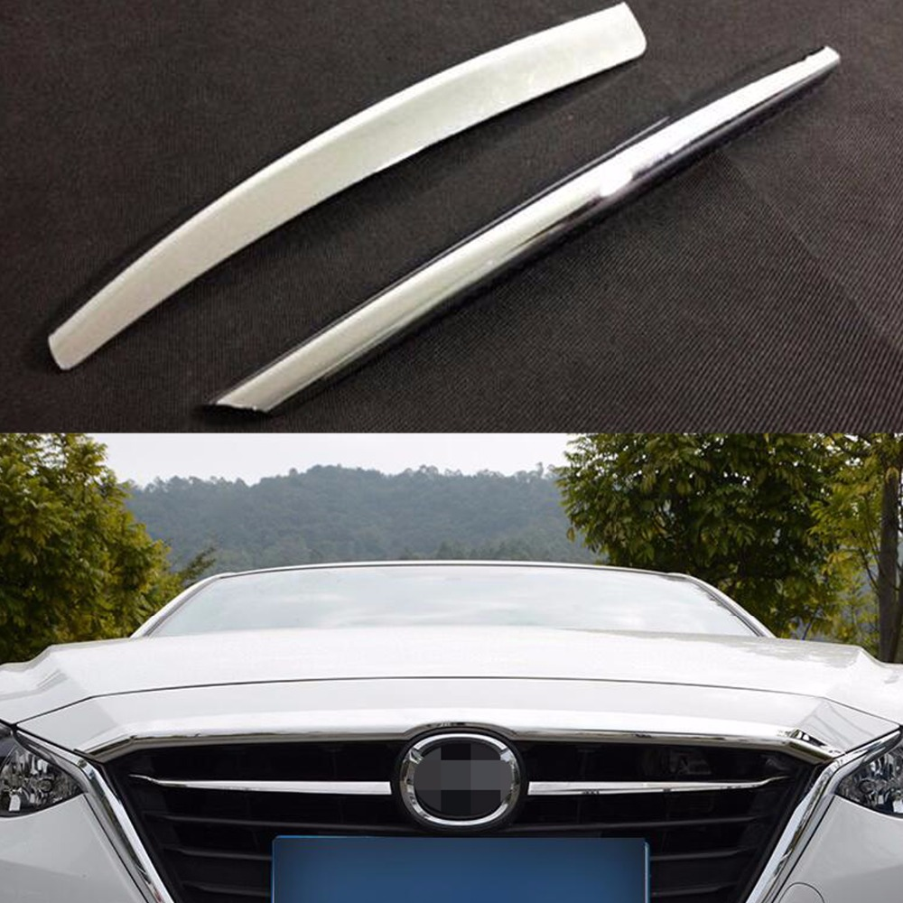 DEE Car Accessories For Mazda 3 M3 Axela 2014 2015 Front Grille Grill Cover Trims ABS Chrome 2pcs/set Auto Exterior Sticker for mazda 3 axela 2014 2015 2016 abs chrome front grille trim center grill cover around trim car styling accessories 11 pcs set