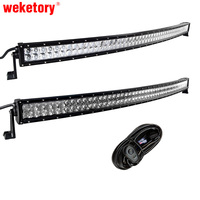 weketory 4D 5D 52 inch 500W Curved LED Work Light Bar for Tractor Boat OffRoad 4WD 4x4 Truck SUV ATV with Switch Wiring