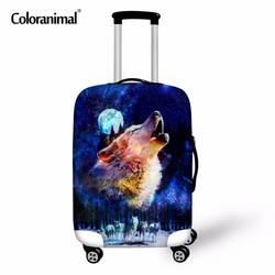 Coloranimal 3D животного синий волк печати Чемодан Защитная крышка для 18-30 дюйма эластичный пыле Дождь Чехол тележка чемодан