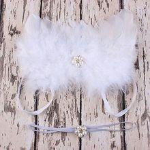 Newborn Baby Girl White Feather Angel Wing +Rhinestone Headband Photography Prop