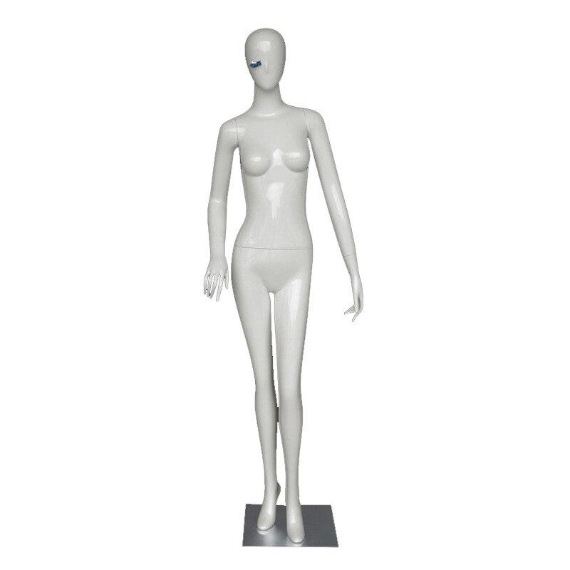 Mannequin de tête d'oeuf abstrait FRP corps complet blanc avec base de prise oblique en acier inoxydable