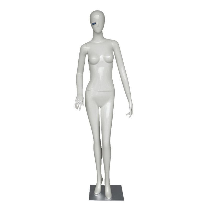Female Full-Body FRP Abstract Egg Head Mannequin White with Stainless steel oblique plug base