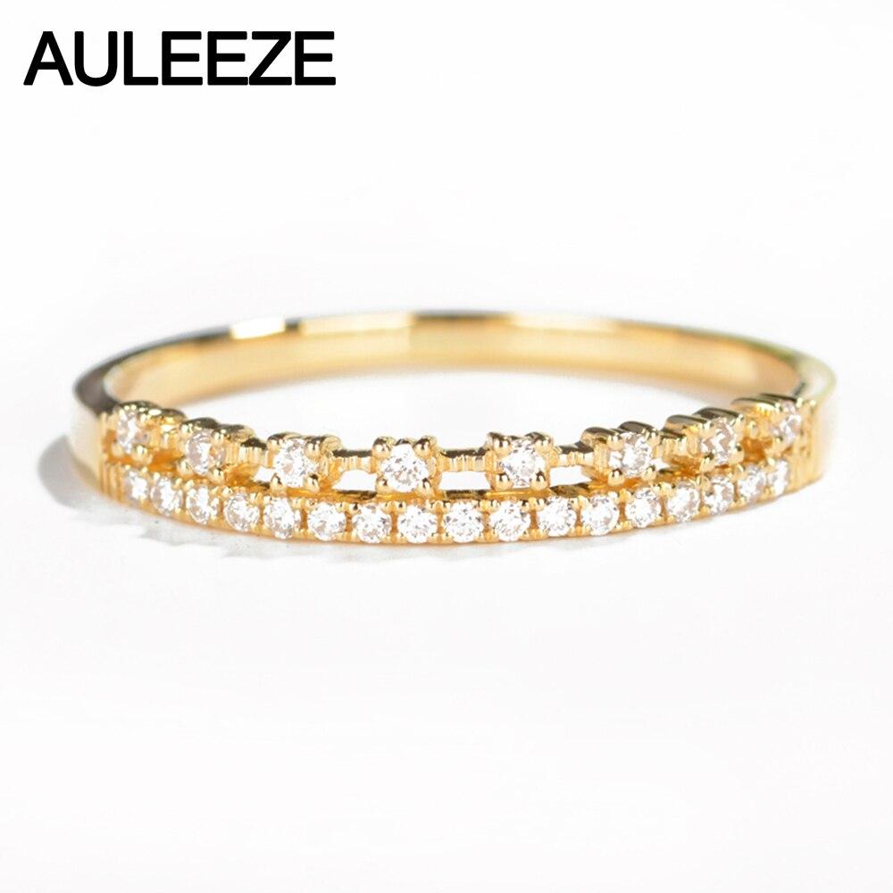 Auleèze 0.17ctw vrai diamant naturel 18k 750 or jaune anneaux de mariage Double rangée diamant bandes pour femmes anniversaire bijoux