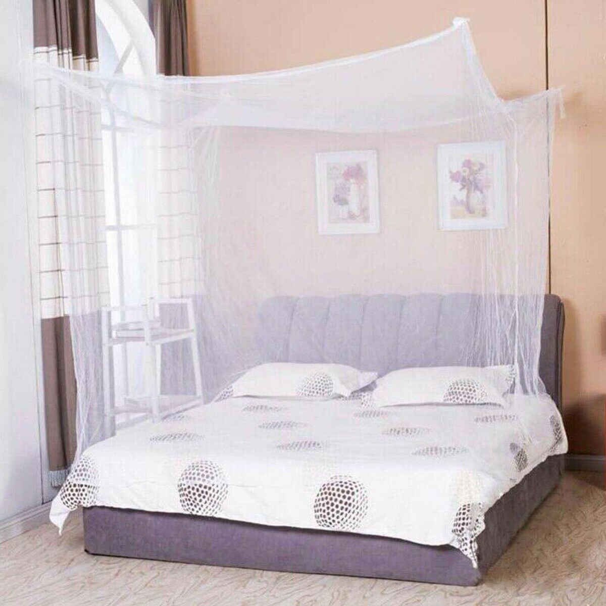 2019 Newest Princess Lace Canopy Mosquito Net Four Corner Post Bug Insect Repeller No Frame Full Queen King Size Bed Mosquito