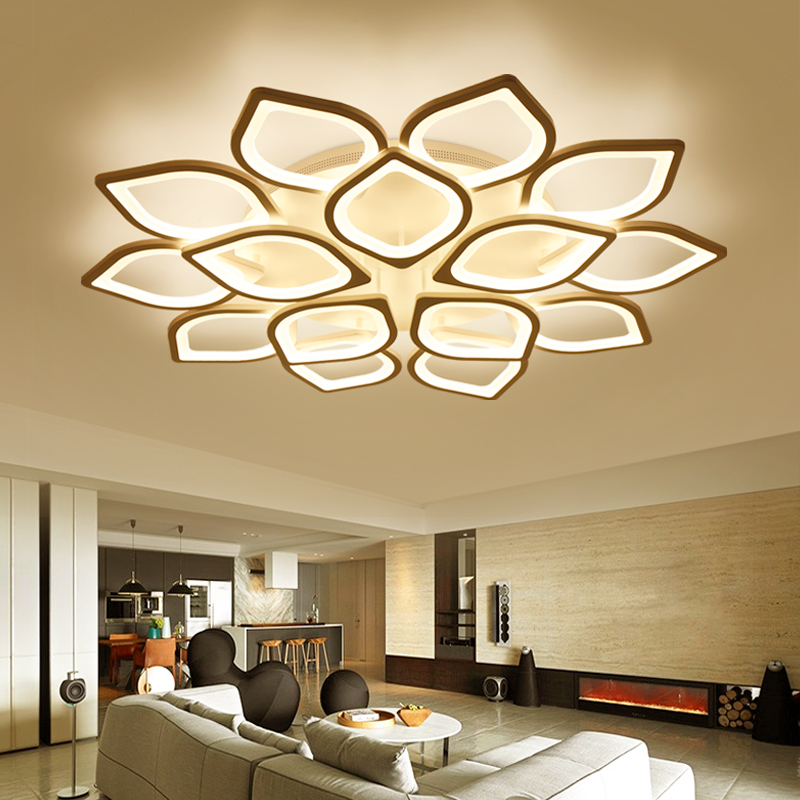 Acrylic flush led ceiling lights white light frame home for Living room ceiling light fixture