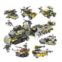 296 шт. 6в1 военные строительные блоки армейские автомобили, вертолет солдат оружие пистолет совместимый Legoed Развивающие игрушки для детей