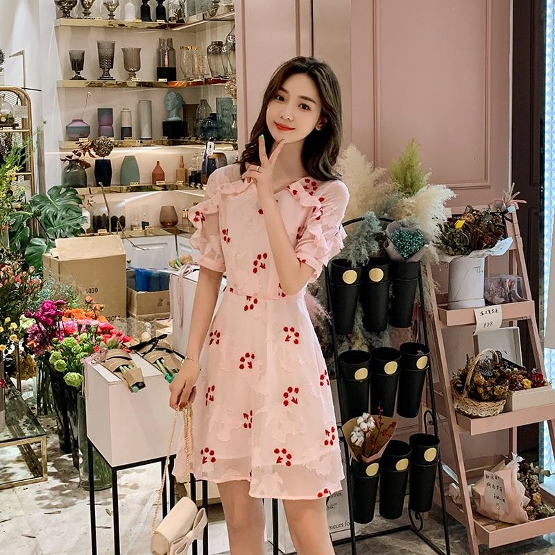 EAD Korean Style V Neck Summer Dress Elegant Floral Embroidery Pink Ruffle Women Chiffon Mini Dresses High Waist Sexy Vestidos