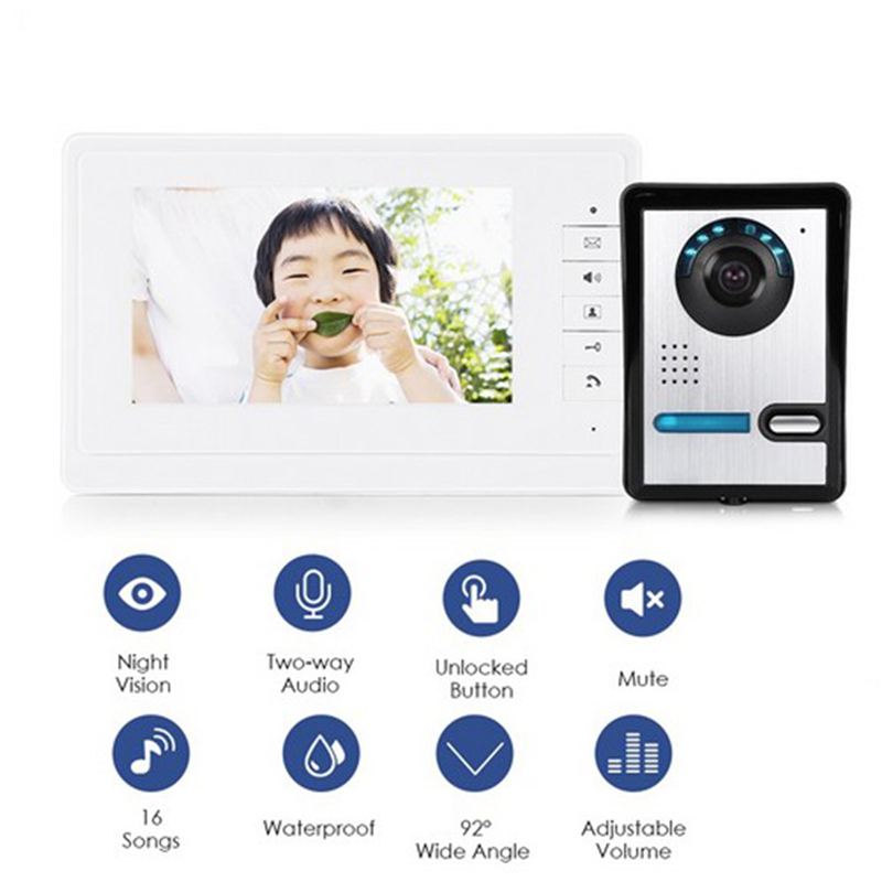 7'' TFT LCD Wired Video Door Phone Audio Intercom Home Video Intercom System Outdoor Doorbell Doorphone Camera IR Night Vision 7 inch color tft lcd wired video door phone home doorbell intercom camera system with 1 camera 1 monitor support night vision